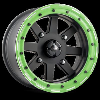 starfighter_dwt_douglas_wheel_sxs_utv_matte_black_14_15_inch_green_beadlock_rim_canam_polaris_yamaha_yxz_rzr_x3_1k_racing